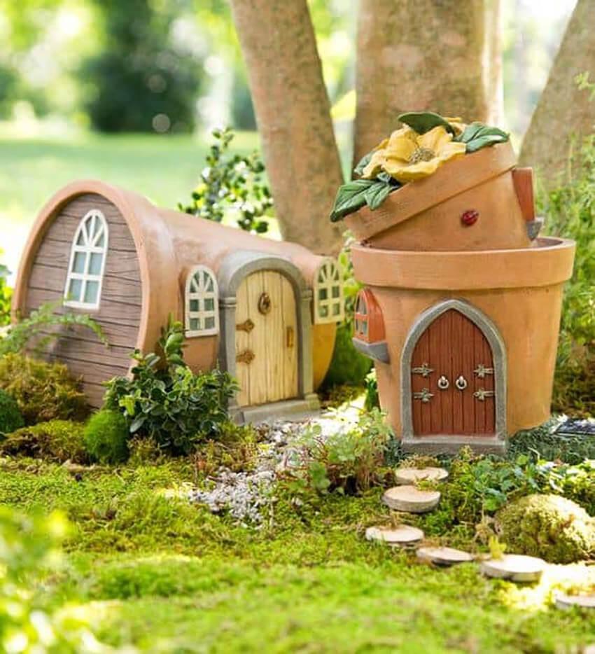 Terra cotta planters make excellent fairy gardens.