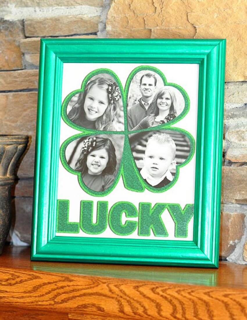 Show off your family with this adorable lucky photo frame.
