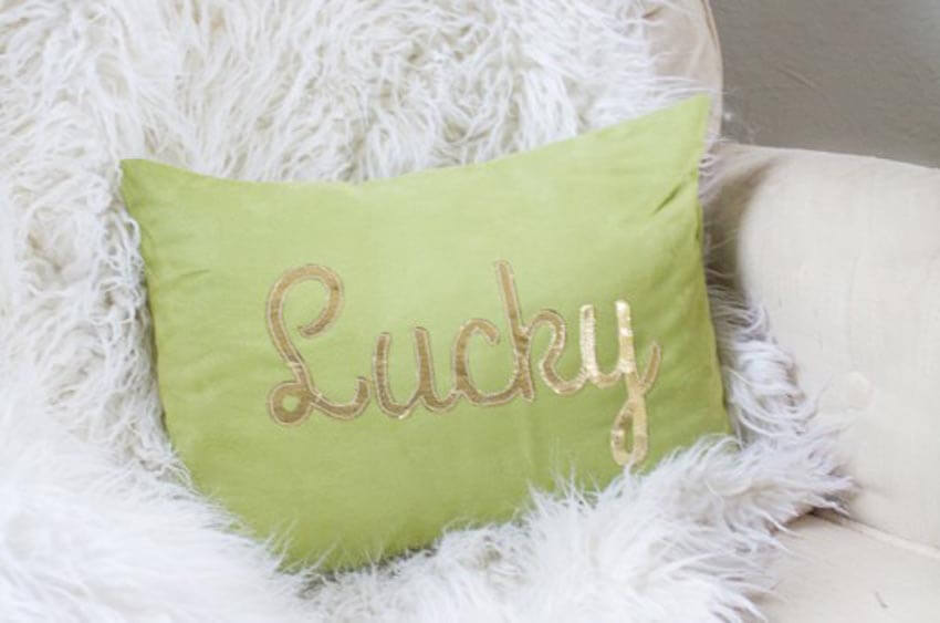 This easy DIY lucky pillow adds the perfect amount of luck to your home!