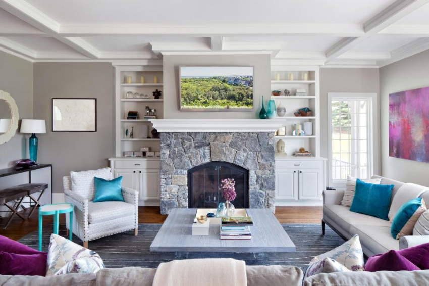 Natural stone can be the perfect addition for your fireplace. Source: HGTV