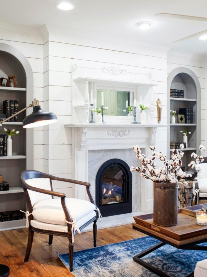 White shiplap can look wonderful on the fireplace! Source: A Thoughtful Place