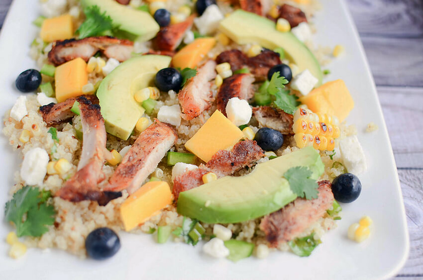 For a healthy option, make this delicious blackened chicken and quinoa salad!