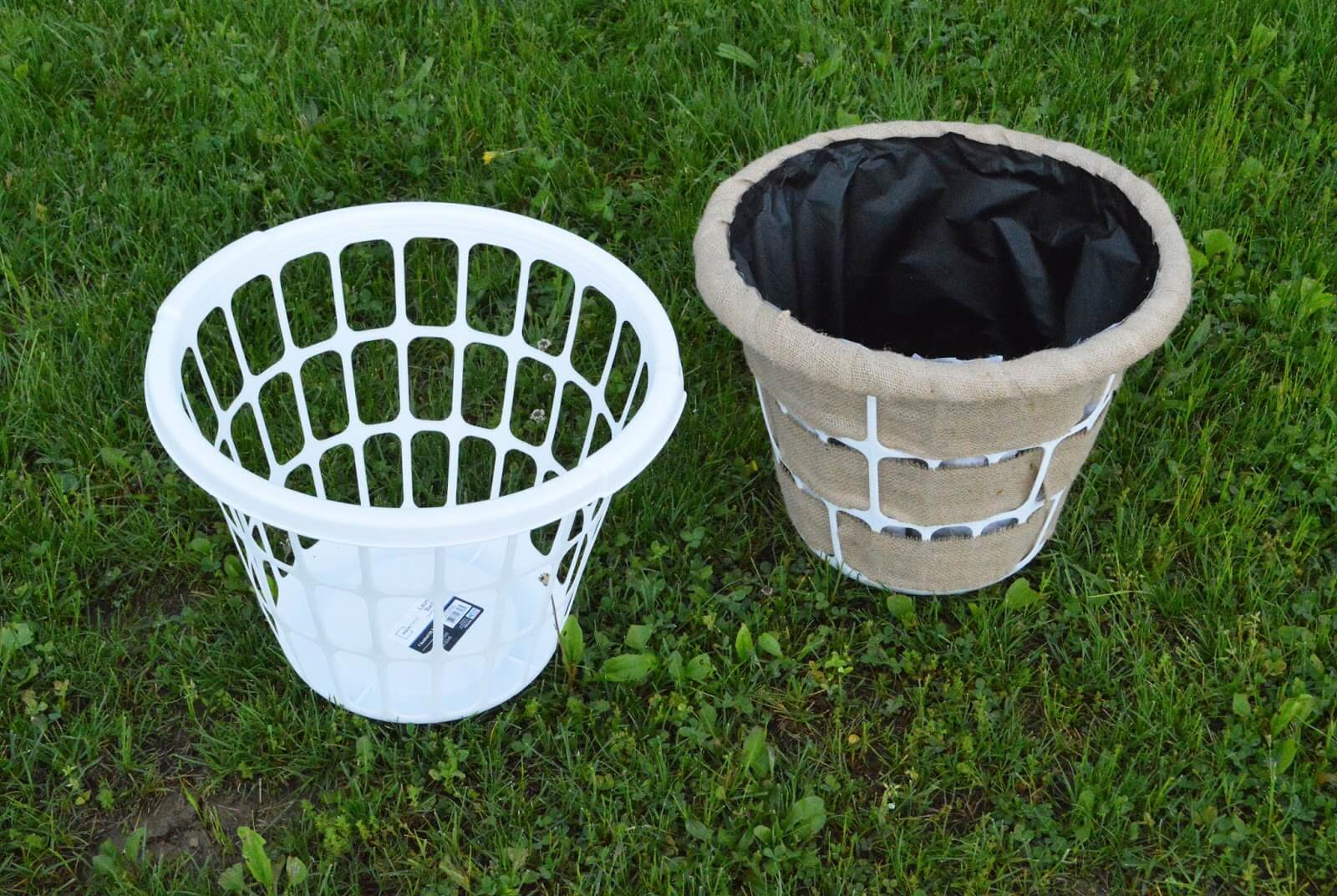 A broekn laundry basket can make a great planter