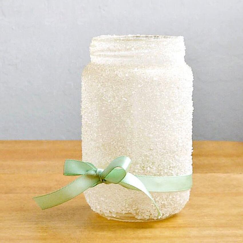 A DIY epsom salt jar is a cute and easy decor accent!