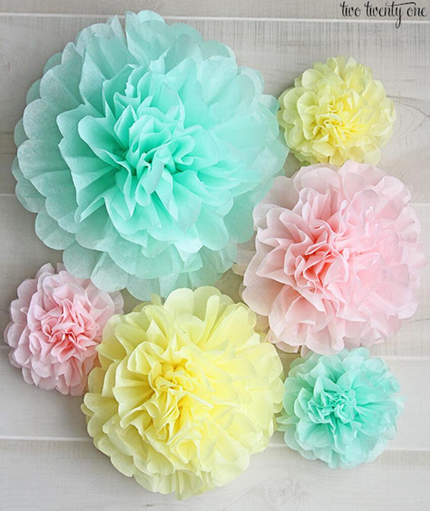 DIY tissue pom poms make fun decorations!