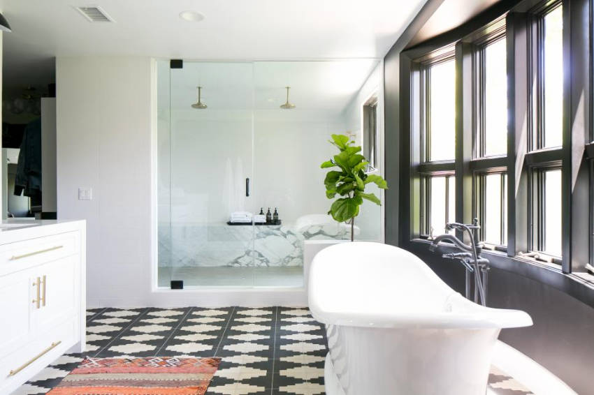Geometric flooring looks great for the bathroom too. Source: 87 Designs