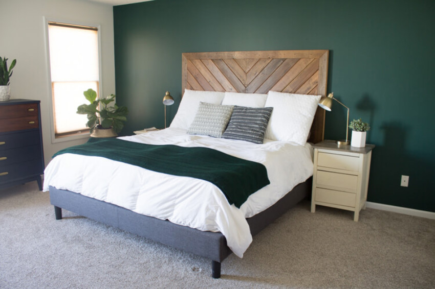 A dark color can help you sleep better! Source: My Breezy Room