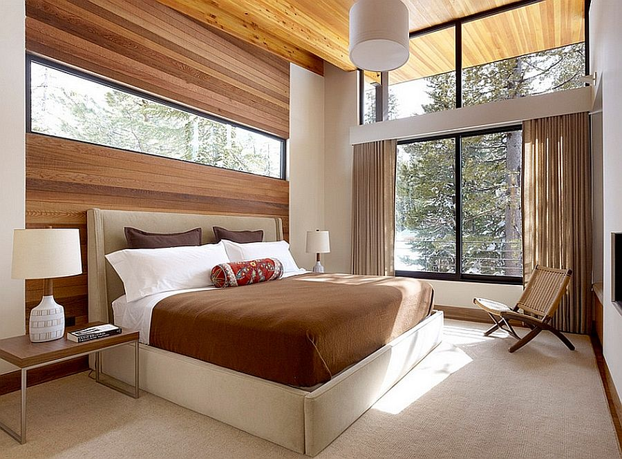 Wood accents will make your bedroom feel cozier. Source: Decoist