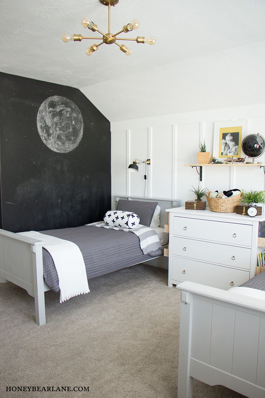 A chalkboard wall can be a great addition to any bedroom. Source: Honey Bearlane