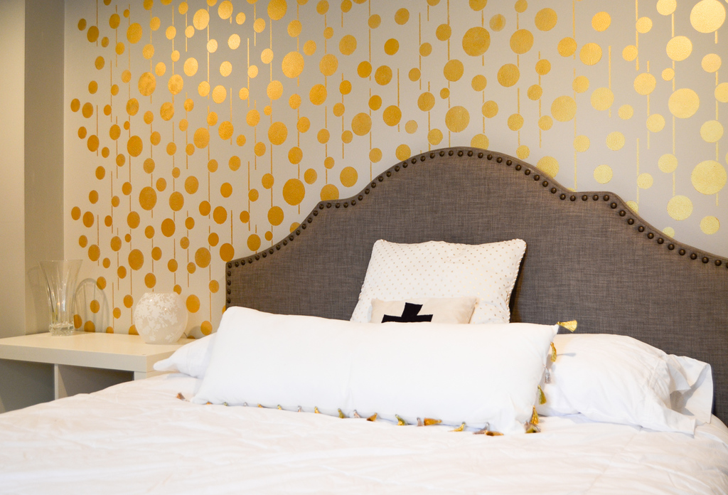 A stenciled wall can bring character to the room. Source: Albion Gould