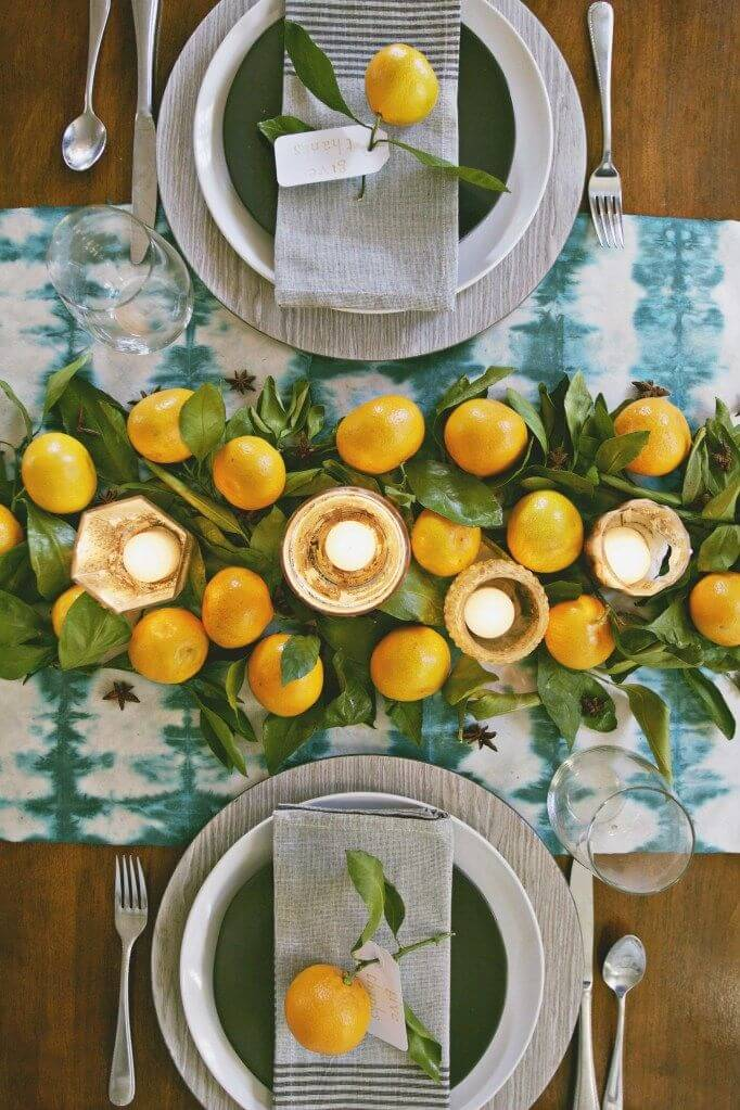 Many yellow lights make for interesting table design