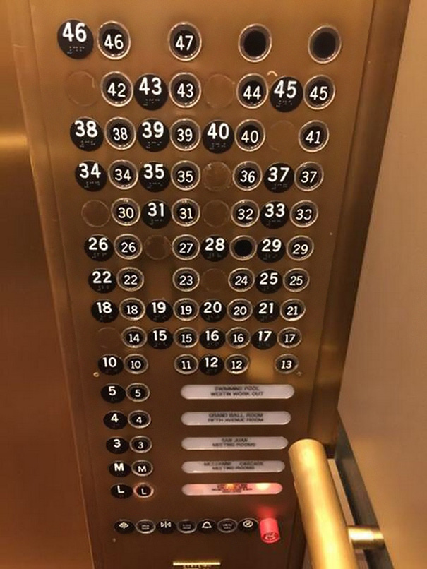 I think they need an electrician to fix this elevator panel.
