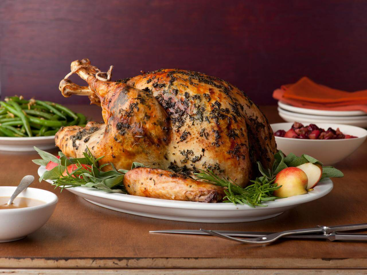 A turkey dinner is traditional for Thanksgiving dinner
